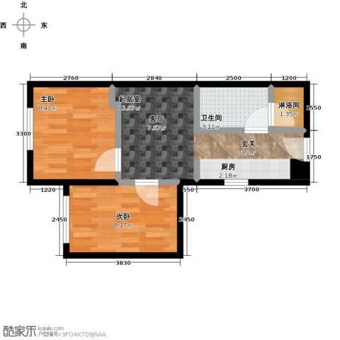 恒瑞・坦城2室0厅1卫0厨40.00㎡户型图
