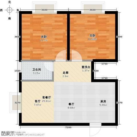 三亚南新悦城2室1厅1卫0厨72.00㎡户型图