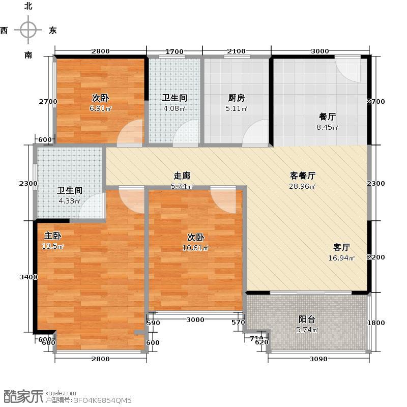 承翰陶源花园89.00㎡1E-3户型三房两厅两卫户型3室2厅2卫
