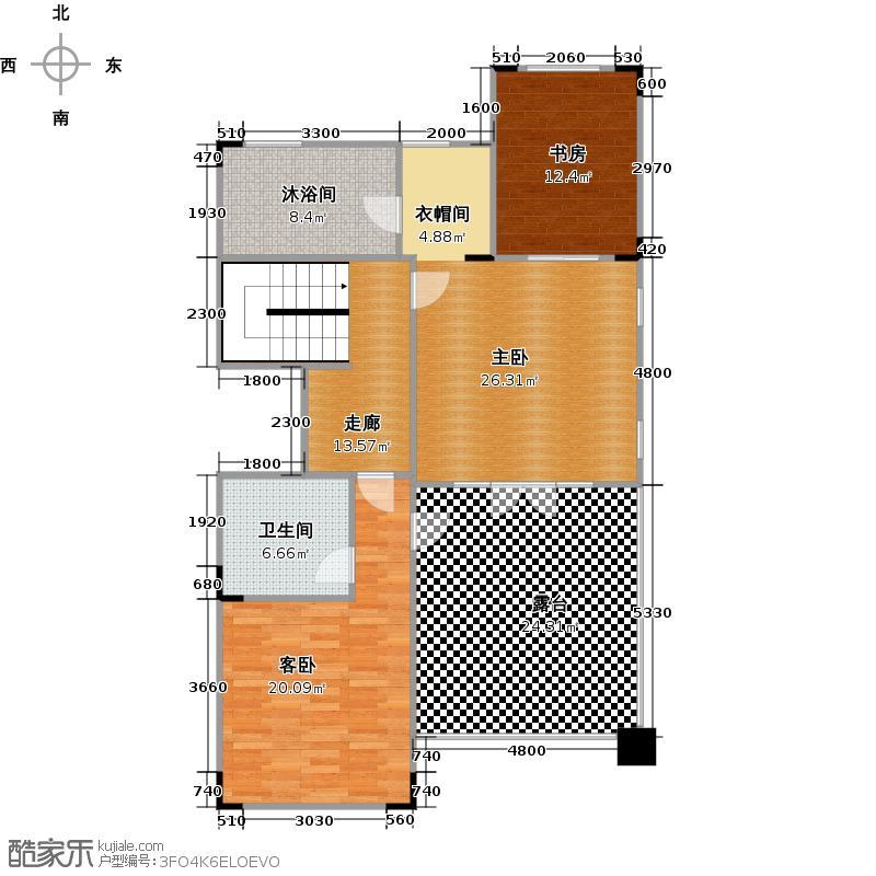 帝景山庄双拼别墅二层户型3室1卫