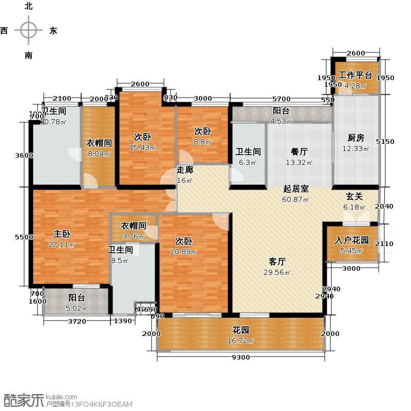 莲湖四季豪园户型4室3卫1厨
