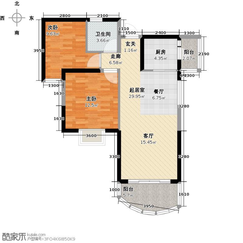 碧桂园十里银滩88.00㎡观山海3楼C户型2室2厅1卫