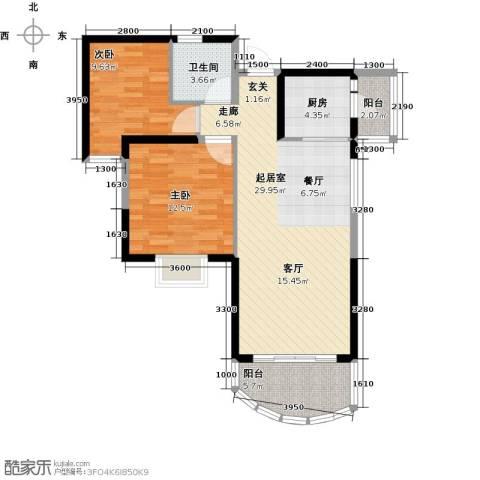 碧桂园十里银滩2室0厅1卫1厨88.00㎡户型图