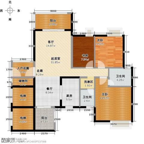 尚品雅居3室0厅2卫1厨110.00㎡户型图