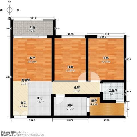 龙城国际2室0厅1卫1厨101.00㎡户型图