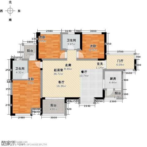汇龙湾花园3室0厅2卫1厨104.00㎡户型图