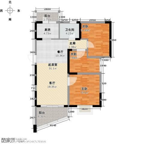 碧桂园十里银滩3室0厅1卫1厨104.00㎡户型图