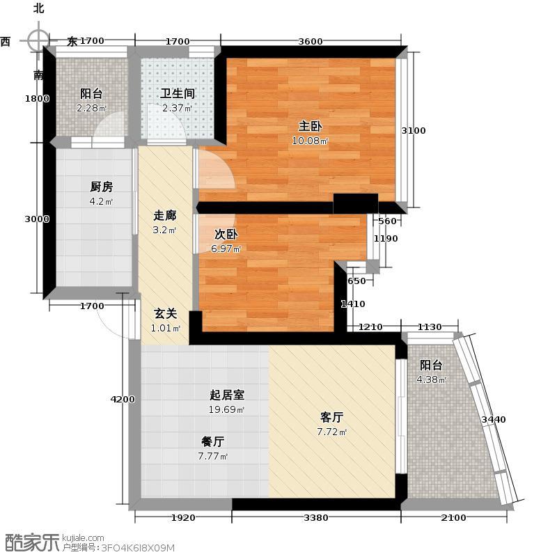 碧桂园十里银滩66.82㎡水蓝天C型园景洋房2房2厅1卫户型2室2厅1卫