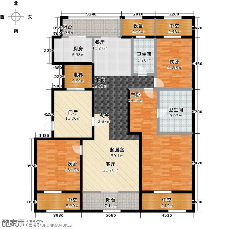 绿城兰园服务公寓S2户型3室2卫1厨