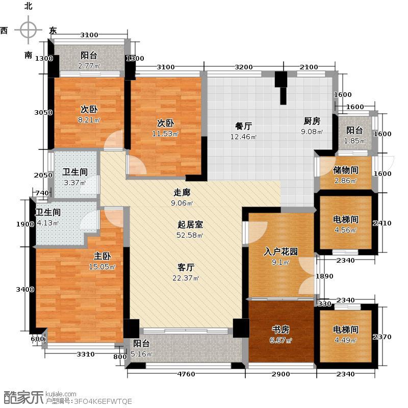锦绣御园134.00㎡E户型4室2厅2卫