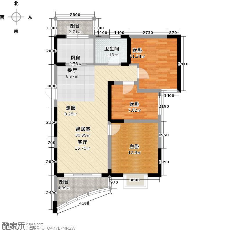 碧桂园十里银滩103.00㎡观山海3楼F户型3室2厅1卫