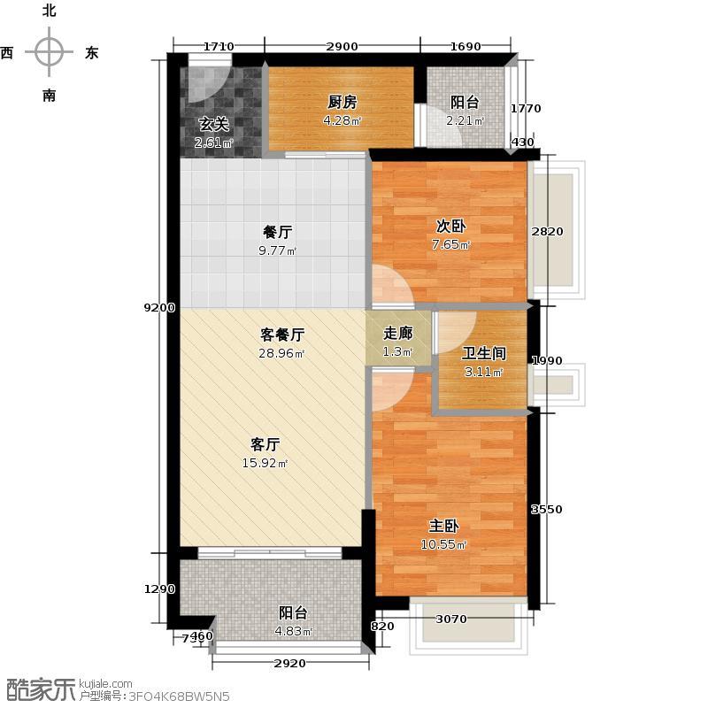 广州保利公园九里78.90㎡E地块1-2栋3-15层标准层01.02户型-2房2厅1卫户型2室2厅1卫