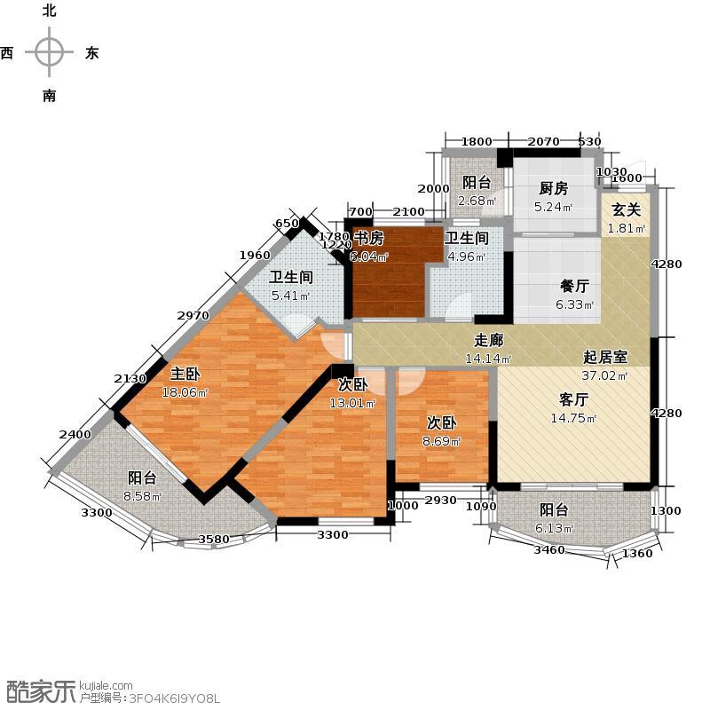 碧桂园十里银滩144.88㎡2号楼E型3房2厅2卫144.88-146.95㎡户型3室2厅2卫