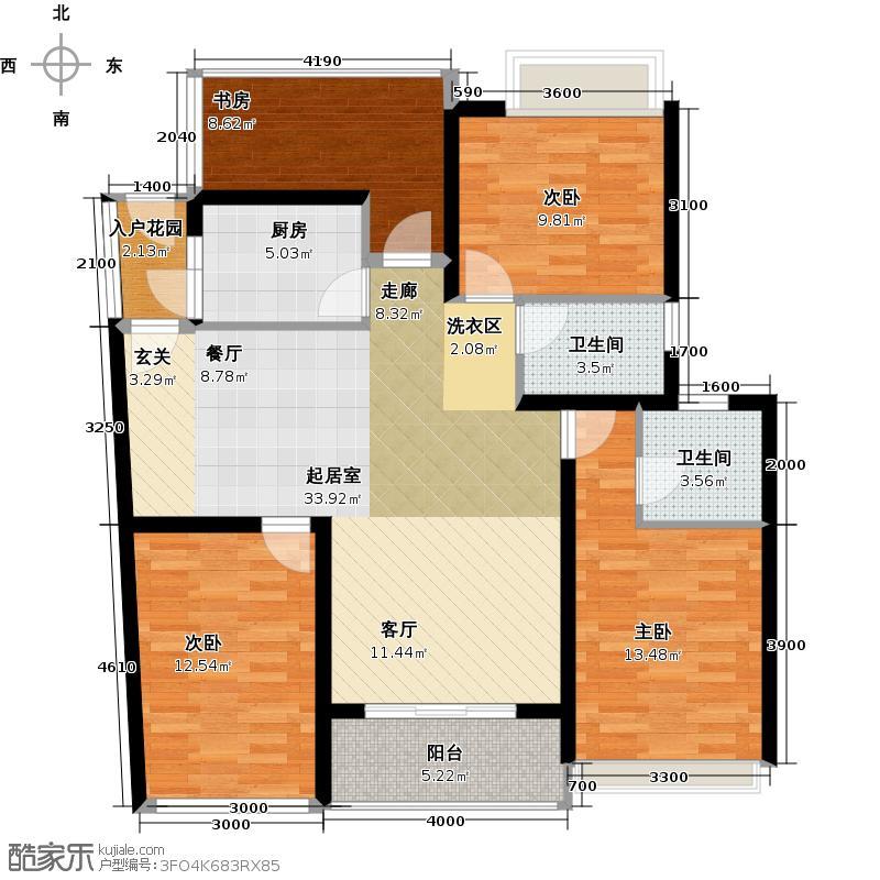 幸福海125.03㎡三房两厅两卫变四房两厅两卫户型
