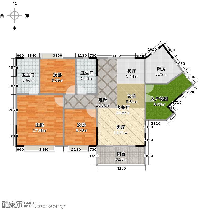 百晟汇翠湾名翠苑39栋二至十一层十四至十七层03单位户型3室1厅2卫1厨