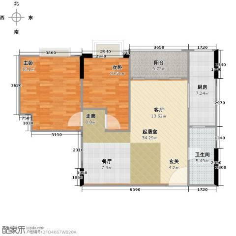 荟锦2室0厅1卫1厨79.35㎡户型图