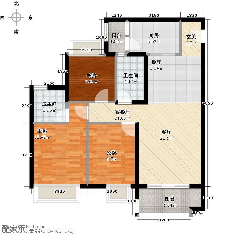 保利西海岸93.00㎡汇海组团A02/B01/C03户型3室2厅2卫