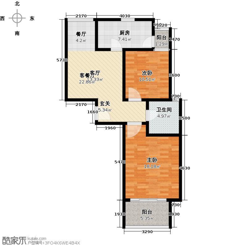 东渡时代J座户型2室1厅1卫1厨