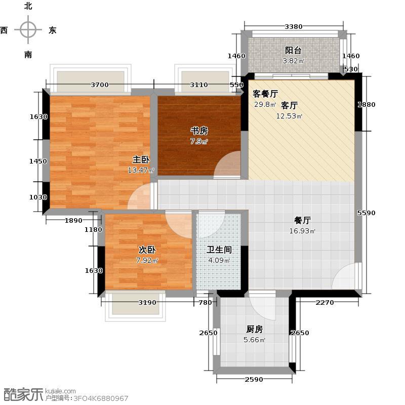 保利西海岸76.45㎡6#楼A梯03户型3室2厅1卫