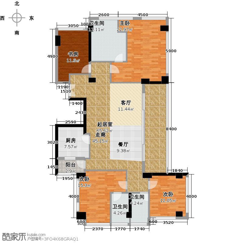 十五�花园175.00㎡C4-15层 4房2厅3卫户型