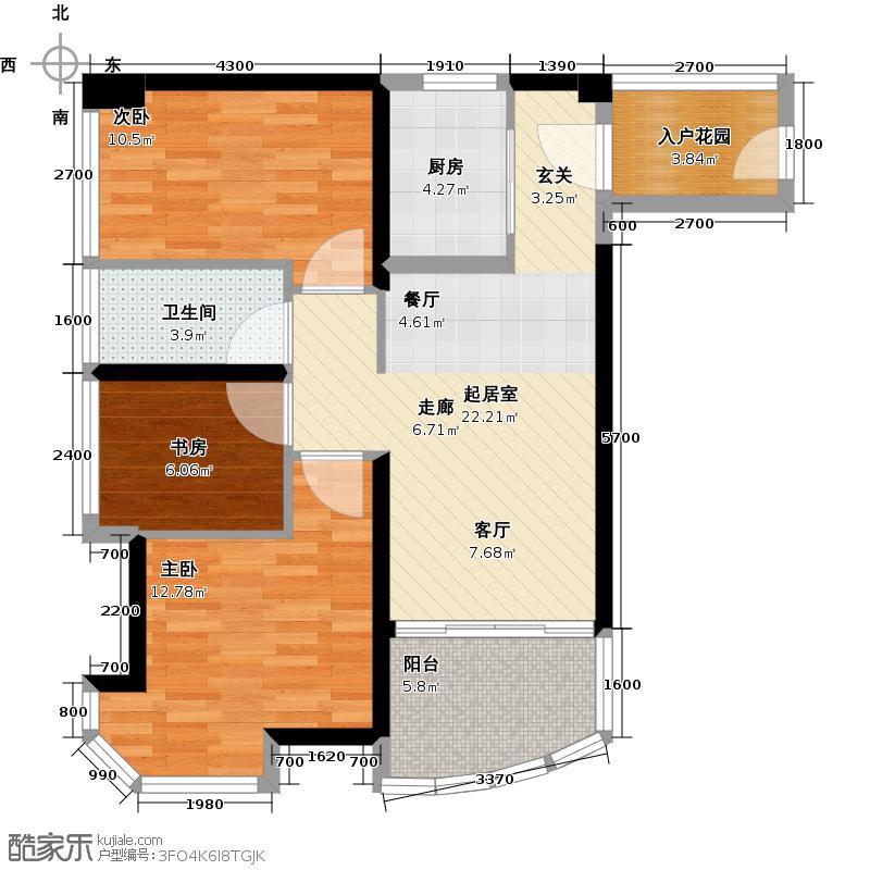 碧桂园十里银滩84.50㎡水蓝天A型园景洋房3房2厅1卫户型3室2厅1卫