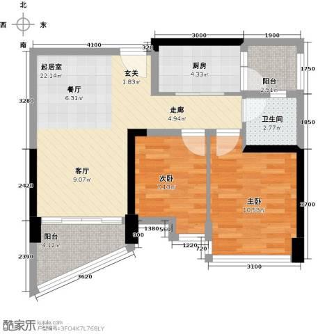 碧桂园十里银滩2室0厅1卫1厨79.00㎡户型图
