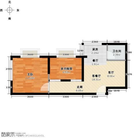 三亚南新悦城1室1厅1卫0厨51.00㎡户型图