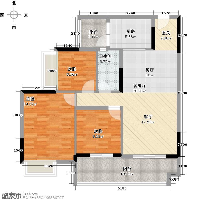保利西海岸86.54㎡1-5#楼A梯02户型3室2厅1卫