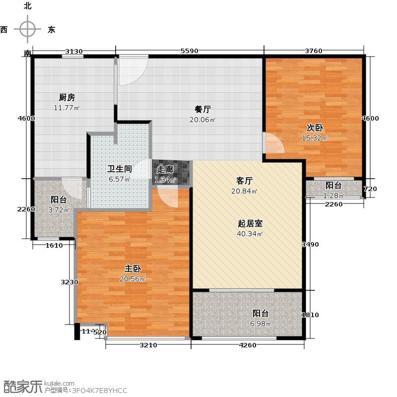 绿洲雅宾利花园三期两居室户型2室1卫1厨