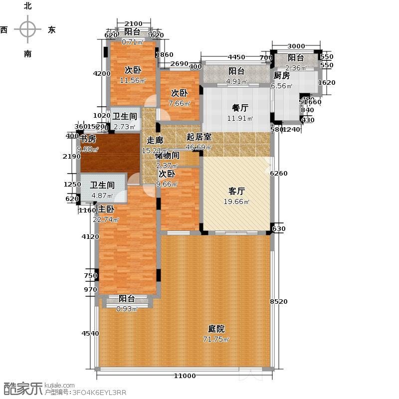 桃源居首府229.00㎡三期13、15栋复式R户型5室2厅2卫