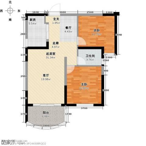 碧桂园十里银滩2室0厅1卫1厨93.00㎡户型图