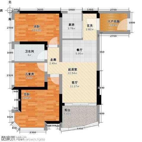 碧桂园十里银滩3室0厅1卫1厨99.00㎡户型图