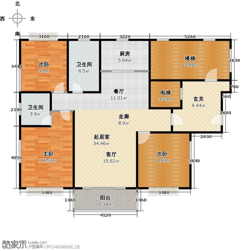 锦洋华园B户型3室2卫1厨