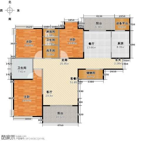 鹏欣一品漫城三期3室1厅2卫1厨146.24㎡户型图