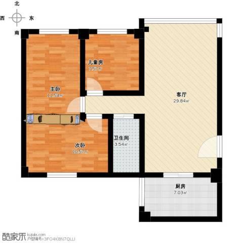 葵竹苑3室1厅1卫1厨81.30㎡户型图