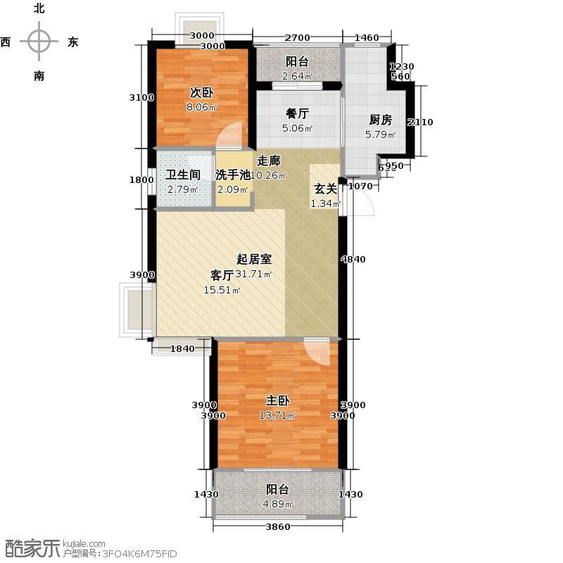 东方龙湖湾三期御山湖10、12、13#标准层C1户型2室1卫1厨