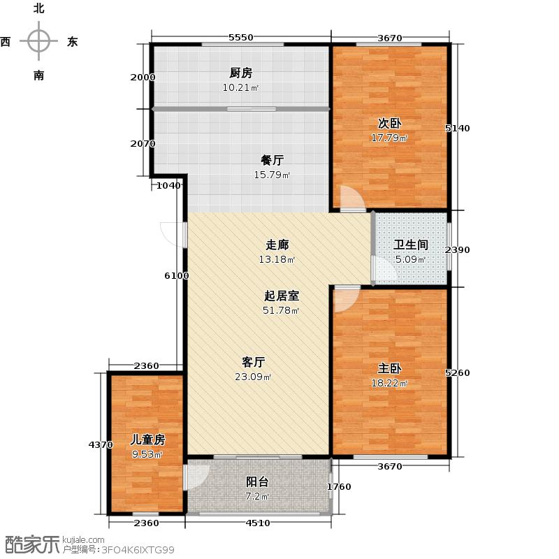 卧龙郡127.87㎡4号楼 3室2厅1卫1厨 127.87㎡户型3室2厅1卫