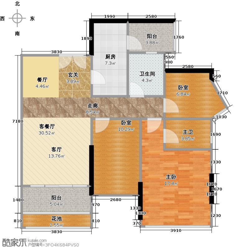 云裳丽影二期3B栋03单元户型1室1厅1卫1厨