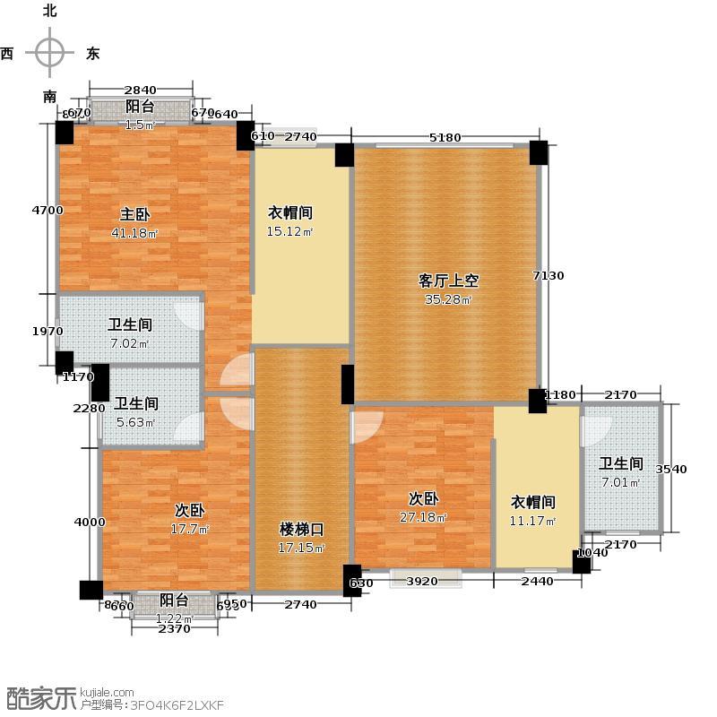 欧亚山庄F1-F3二层平面图户型3室3卫