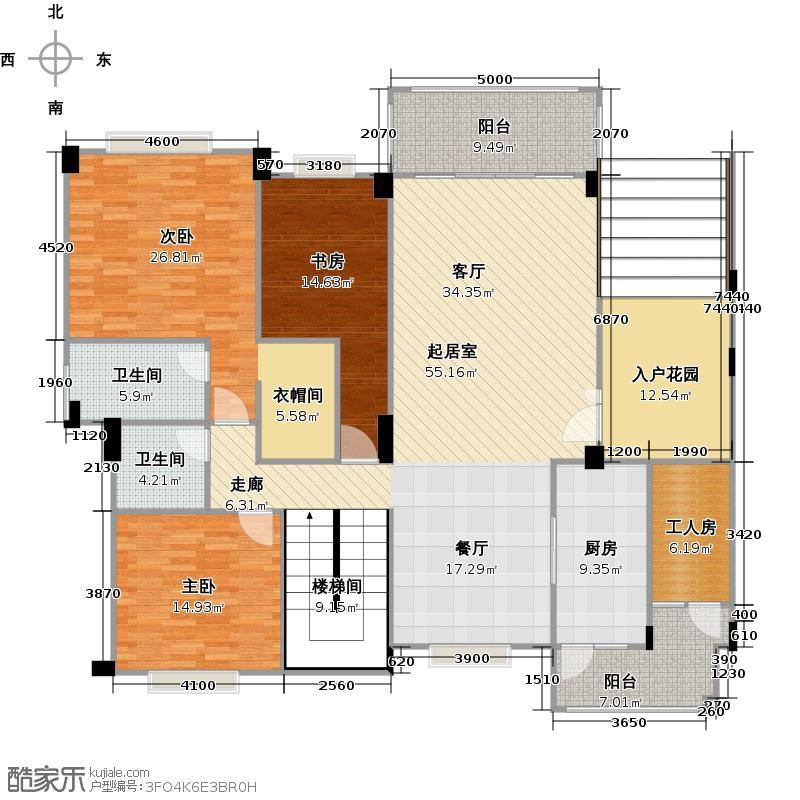 欧亚山庄F1-F3首层平面图户型3室2卫1厨