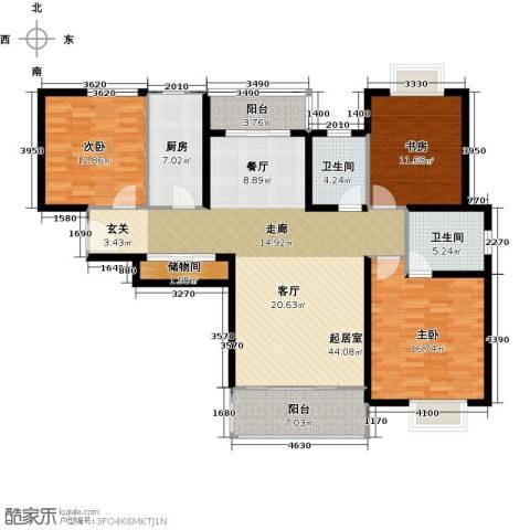 三花现代城三期3室0厅2卫1厨129.00㎡户型图