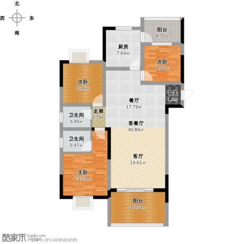 尚海湾豪庭3室1厅2卫1厨144.00㎡户型图
