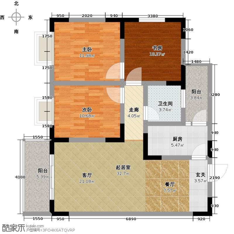 润芝园1号楼A1户型3室1卫1厨