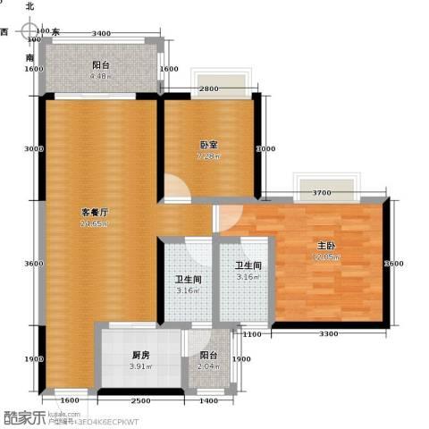 金田花园1室1厅2卫1厨77.00㎡户型图