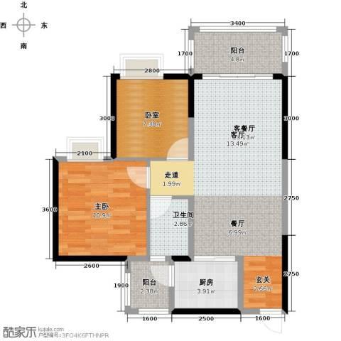 金田花园1室1厅1卫1厨71.00㎡户型图