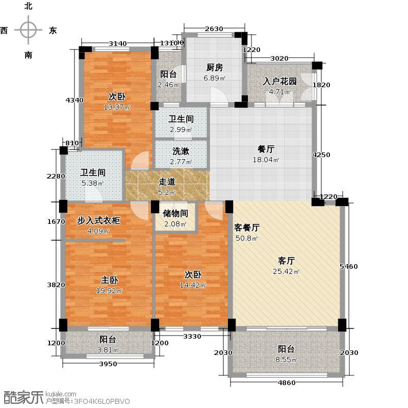 中洲珑悦C户型3室1厅2卫1厨