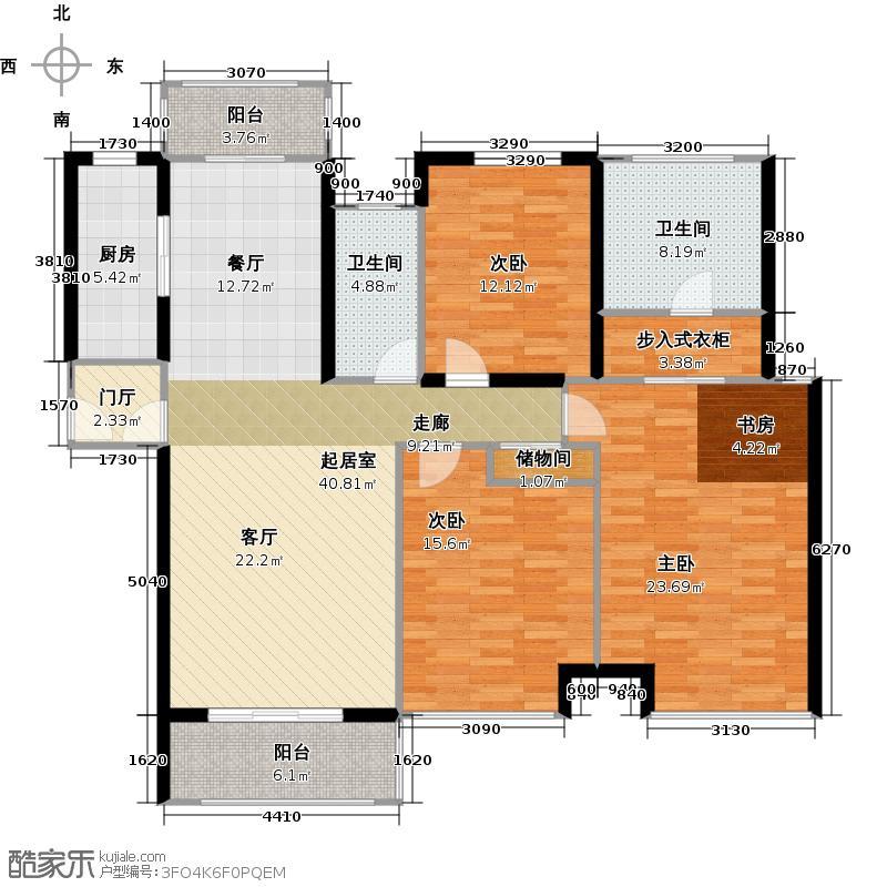 华润中央公园D户型3室2卫1厨