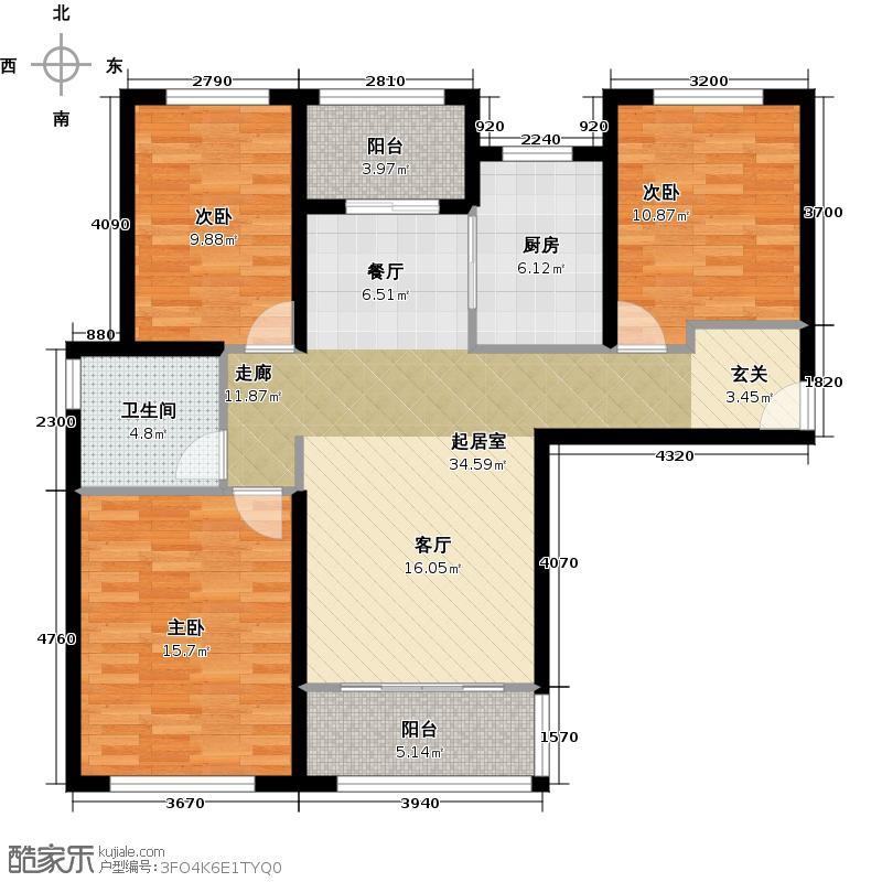 华润中央公园楼王户型3室1卫1厨