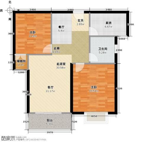 三花现代城三期2室0厅1卫1厨89.00㎡户型图
