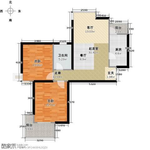三花现代城三期2室0厅1卫1厨88.00㎡户型图